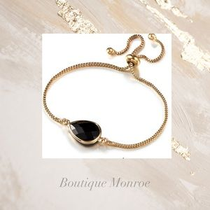 Black Crystal Gold Adjustable Bracelet